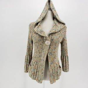BCBGMaxazria multicolor knit hooded sweater Large